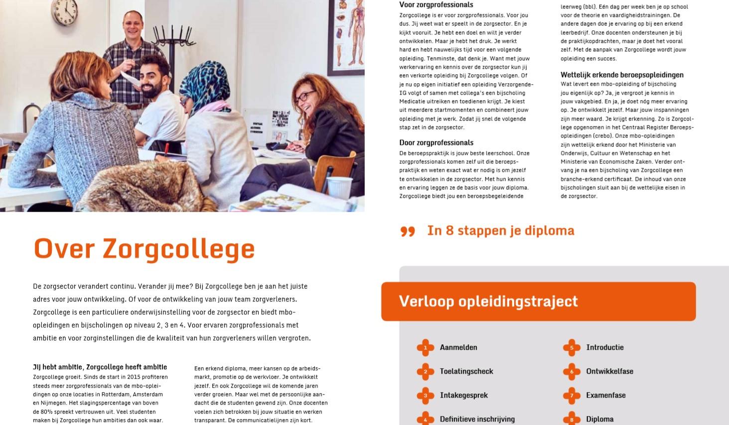 Zorgcollege – brochuretekst Over Zorgcollege